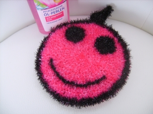 handgearbeiteter Peelingschwamm/Duschschwamm/Spülschwamm, pink,