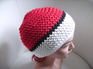 handgehäkelte Mütze aus Baumwollemischgarn,  rot/weiß, KU 52-56cm