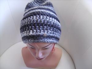 Damen-Mütze/Beanie, gehäkelt aus Wollmischgarn, KU ca. 52-55cm, grau/anthrazit - Handarbeit kaufen
