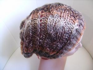 Long-Beanie, handgestrickt aus Wollmischgarn, KU ca. 54-58cm, brauntöne