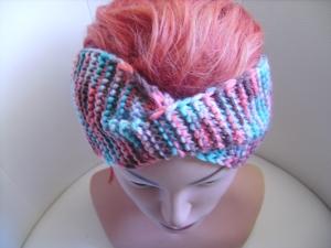 handgestricktes Twist-Stirnband in bunt aus Wollmischgarn, KU ca. 53-58 cm
