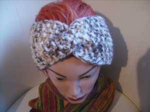 handgestricktes Twist-Stirnband in braun/beige aus Handstrickgarn, KU ca. 55-59 cm      - Handarbeit kaufen