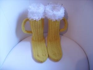 handgestrickte Bier-Socken/Sofa-Socken Gr. 41 aus 8-fach SoWo