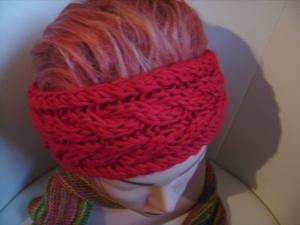 handgestricktes Stirnband in rot aus Handstrickgarn, KU ca. 55-57 cm