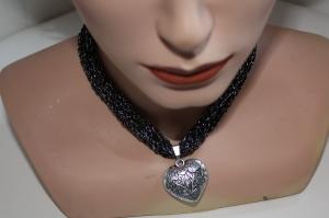 Dirndlkette mit Magnetverschluß, handgearbeitet,  schwarz mit silber - Handarbeit kaufen
