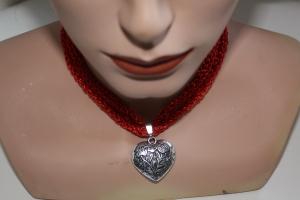 Dirndlkette mit Magnetverschluß, handgearbeitet,   rot mit Glitzer - Handarbeit kaufen