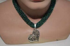 Dirndlkette mit Magnetverschluß, handgearbeitet,  smaragdgrün mit Glitzer - Handarbeit kaufen