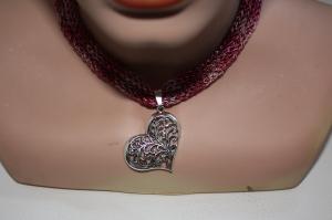 Dirndlkette mit Magnetverschluß, handgearbeitet,  pink - Handarbeit kaufen