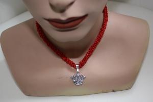 handgearbeitete Dirndlkette mit Krone, rot Glitzer, leicht elastisch,       - Handarbeit kaufen