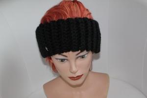 gehäkeltes Stirnband in schwarz aus Handstrickgarn, KU >56 cm          - Handarbeit kaufen