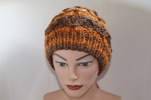 Damen-Mütze/Beanie, handgestrickt mit Muster , KU ca. 54-58cm,   - Handarbeit kaufen