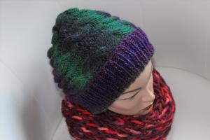 Damen-Mütze/Beanie *Quergezopft*, handgestrickt aus Wollmischgarn, KU ca. 54-58cm, bunt     - Handarbeit kaufen