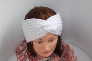 handgestricktes Turban-/Twist-Stirnband in weiß mit Glitzer aus Handstrickgarn, KU ca. 54-58 cm            - Handarbeit kaufen