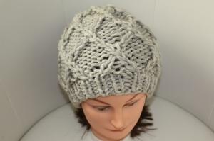 Damen-Mütze/Beanie, handgestrickt mit Muster, KU ca. 55-58cm, hellgrau melange - Handarbeit kaufen