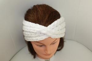 handgestricktes Turban-/Twist-Stirnband in weiß mit Glitzer und Muster, KU ca. 54-58 cm             - Handarbeit kaufen
