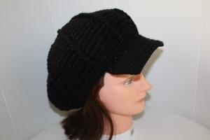 schicke gehäkelte Damen-Schirmmütze, KU >56 cm, schwarz mit Glitzer - Handarbeit kaufen