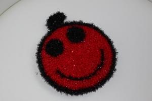 handgearbeiteter Peelingschwamm/Duschschwamm/Spülschwamm  *lachendes Gesicht*,  rot - Handarbeit kaufen