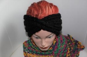 handgestricktes Turban-/Twist-Stirnband in schwarz mit Glitzer und Muster, KU ca. 54-58 cm              - Handarbeit kaufen