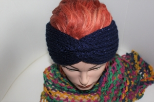 handgestricktes Turban-/Twist-Stirnband in mitternachtsblau mit Glitzer aus Handstrickgarn, KU ca. 54-58 cm          - Handarbeit kaufen