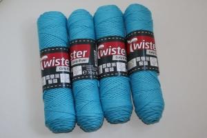 100% Baumwolle Twister curly 8 uni Fb. 65, türkis, 60°waschbar