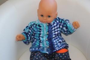 süße gehäkelte Baby-Hexagon-Jacke Gr. 62-68, farbverlaufend - Handarbeit kaufen