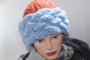 handgestricktes Stirnband in hellblau  und Muster, KU ca. 56-60 cm