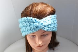 handgestricktes Turban-/Twist-Stirnband in hellblau mit Glitzer und Muster, KU ca. 54-58  cm    - Handarbeit kaufen