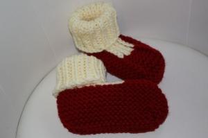handgestrickte Sofasocken/Hausschuhe Gr.  37-38, rot - Handarbeit kaufen