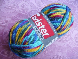 Strickgarn Twister Monza color Fb. 1, bunt, 200gr. Knäuel, Schalwolle, Nd. 10-12      - Handarbeit kaufen