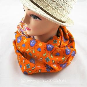 Schlauchschal orange und weiß mit Fatimas Hand und Blümchen