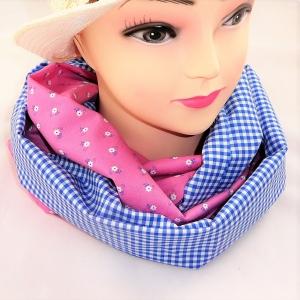 Schlauchschal, rosa und hellblau aus Dirndlstoff - Handarbeit kaufen