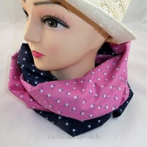 Schlauchschal, rosa und blau aus Dirndlstoff - Handarbeit kaufen