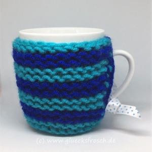 Tassenwärmer in dunkelblau und türiks
