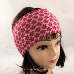 Stirnband, rot mit Blumenmuster aus Jersey
