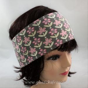 Stirnband in grau mit rosa Blumen, Retroblumen
