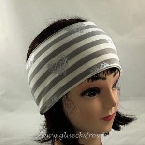 Stirnband weiß und grau mit silberfarbenen Herzen aus Jersey