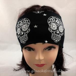 Stirnband mit weißen Skulls, schwarzer Jersey, Fesivalstirnband