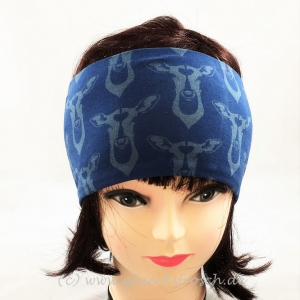 Stirnband, blau mit Hirsch, Hirschen, aus Jersey