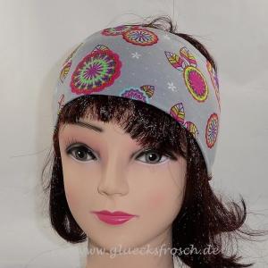 Stirnband, grau mit bunten Mandalas aus Jersey  - Handarbeit kaufen