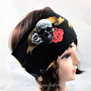 Stirnband, schwarz mit Totenkopf, Rosen, Gitarren und Flügel aus Jersey
