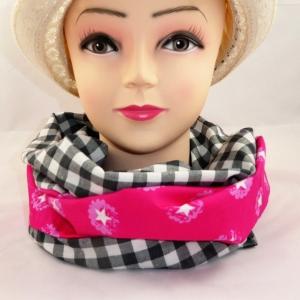 Schlauchschal pink mit weißen Sternen und schwarzen Karos  - Handarbeit kaufen