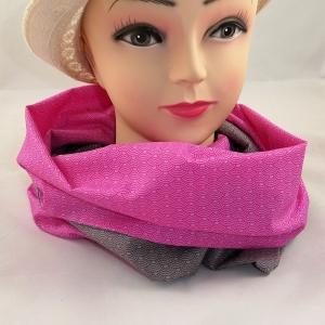 Schlauchschal mit zwei Seiten in pink und taupe aus Baumwolle