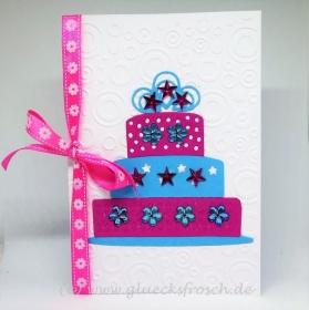 Glückwunschkarte, Geburtstagskarte mit Torte (Karte 10,5 x 15 cm) - Handarbeit kaufen