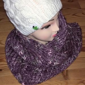Schal, gestrickt, lila