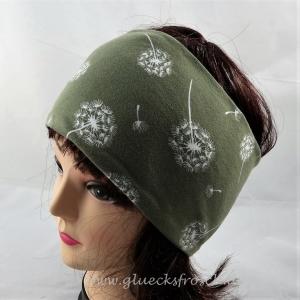 Stirnband, olivgrün mit Pusteblumen, Löwenzahn