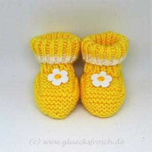 Babyschuhe, Babystiefel, gelb mit Blume, 8 cm Fußsohlenlänge