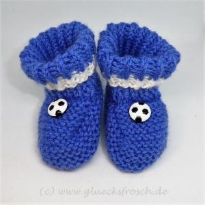 Babyschuhe, Babystiefel, blau und weiß mit Fußball, 9 cm Fußsohlenlänge