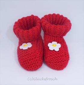 Babyschuhe, Babystiefel, rot mit Blume, 8 cm Fußsohlenlänge