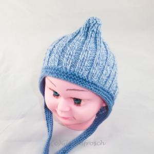 Zwergenmütze, Babymütze für ein Neugeborenes in hellblau - Handarbeit kaufen