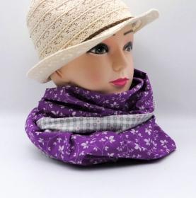 Schlauchschal lila mit Blumenmuster und grau-weiß kariert zum wenden, Trachtenschlauchschal, Dirndlschal, Baumwolle - Handarbeit kaufen
